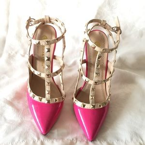 Chase & Chloe Pink Studded Ankle Strap Heels Sz 6